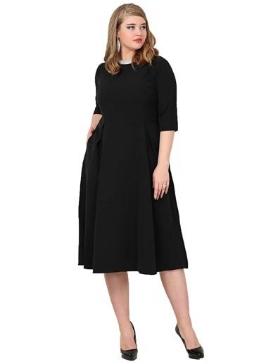 Angelino Butik Büyük Beden Cepli Elbise KL778 Siyah